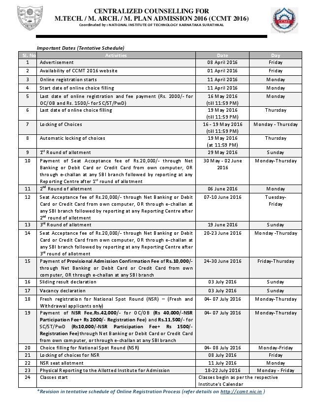CCMT Counselling 2016 Important dates