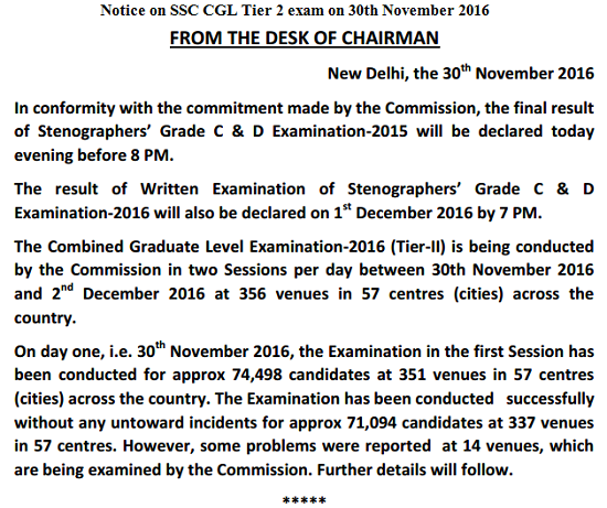 Notice on SSC CGL Tier 2 exam on 30th November 2016