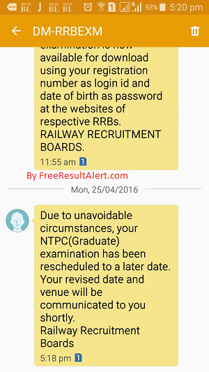 RRB NTPC Reschedule Notice on 25-04-2016