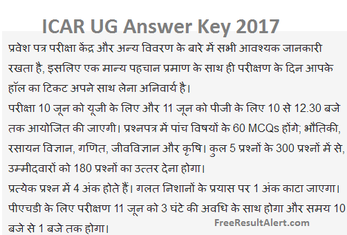 ICAR UG Answer Key 2018