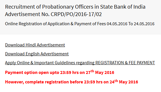 SBI PO 2016 payment extended date is 27 may 2016