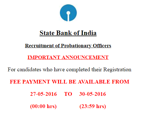SBI PO online fee payment new extended last date