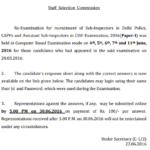 SSC CPO Re Exam Answer Key 2016 Paper-1 Morning-Evening Shift