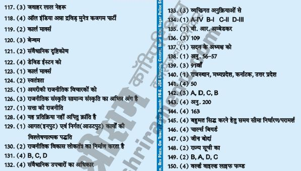 RPSC 1st Grade School Lecturer Political Science Answer Key Page 3