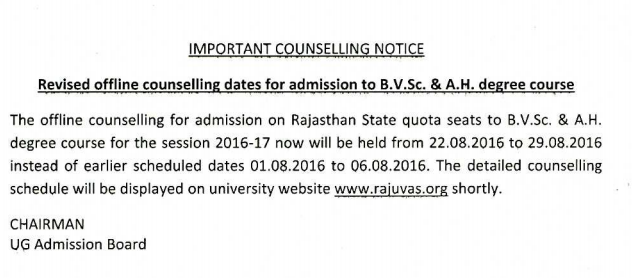 RPVT Rajuvas Counselling new Date 2016 Notice