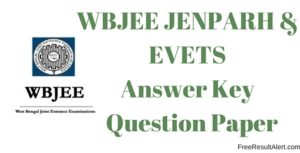 WBJEE Jenparh and EVETS answer key