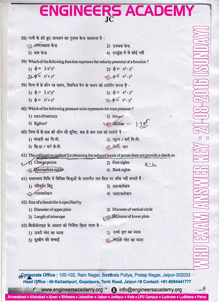 Rajasthan WRD Answer Key download