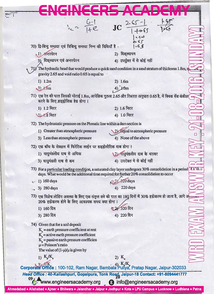 Rajasthan WRD jen Answer Key download