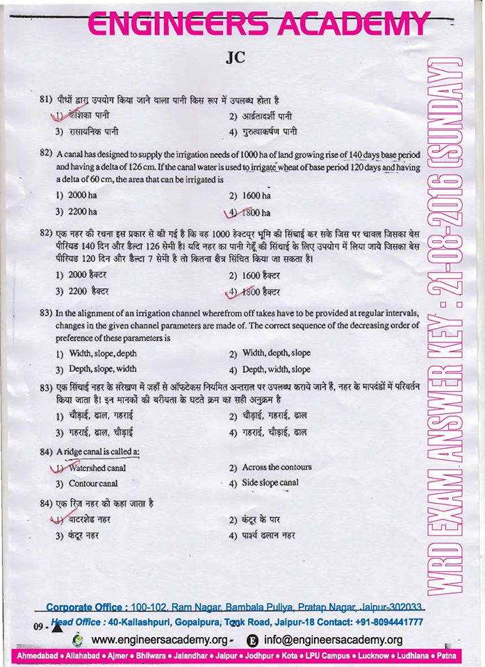 Rajasthan WRD jen Answer Key pdf