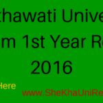 Shekhawati University BCom 1st Year Result 2016 Name Wise @ Sikar