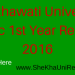 Shekhawati University BSc 1st Year Result 2016 Name Wise Download