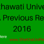 Shekhawati University MA Previous Result 2016 Name Wise @ ShekhaUni