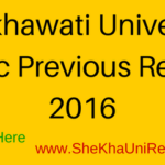 Shekhawati University MSC Previous Result 2016 Name Wise @ Sikar