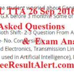 BSNL TTA/JE 26 September 2016 Answer Key & Asked Questions Shift 1,2