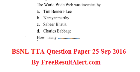 bnsl je question Paper 25 Sept 2016