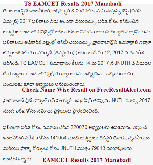 TS EAMCET Results 2017 Manabadi