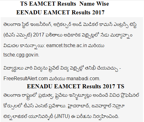 TS EAMCET Results Name Wise