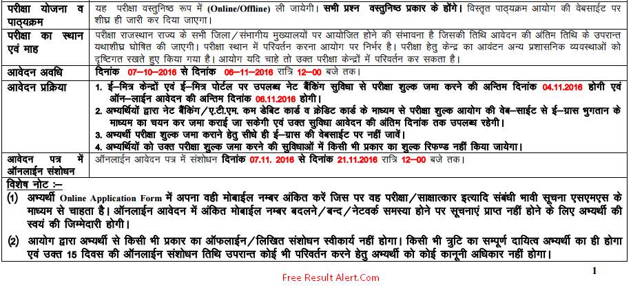 rajasthan police si notification