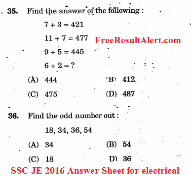 SSC JE 2016 Answer Sheet for electrical