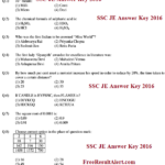 SSC JE Answer Key 2017 Electrical, Mechanical & Civil