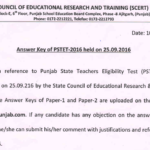 PSTET Answer Key 2016 Download { 25 Sept* } Punjab TET Paper 1 & Paper 2