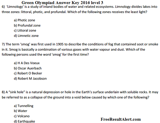 Green Olympiad Question Paper 2016