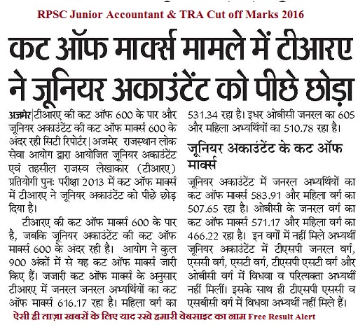RPSC Junior Accountant & TRA Cut off marks 2016