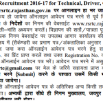 RSRTC Recruitment 2016-17