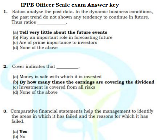 ippb officer scale exam answer key