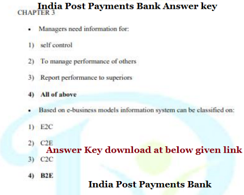 India Post Payments Bank Answer key 2017