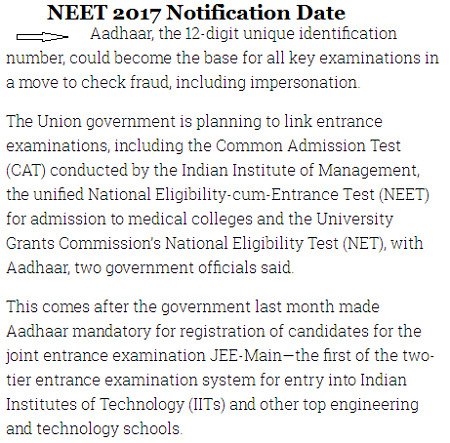 NEET 2017 Notification Date