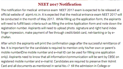 NEET 2017 Notification - Application Form & Download PDF for All ...