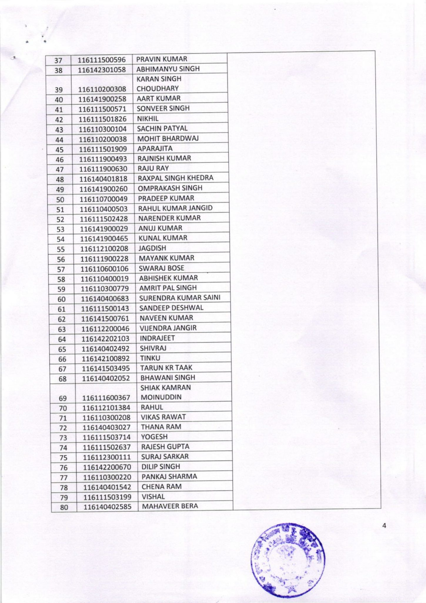 bsf result name wise