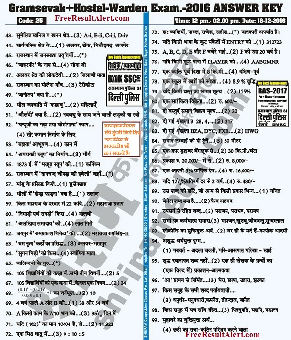 gram sevak answer key 2016