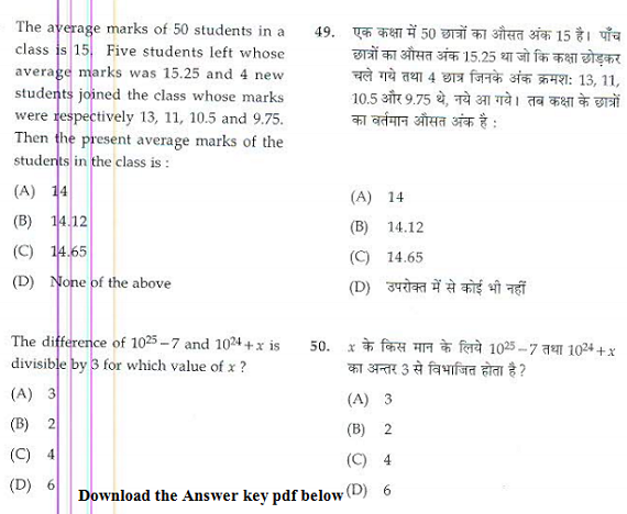 CG Patwari Answer key 2017 & cut off marks