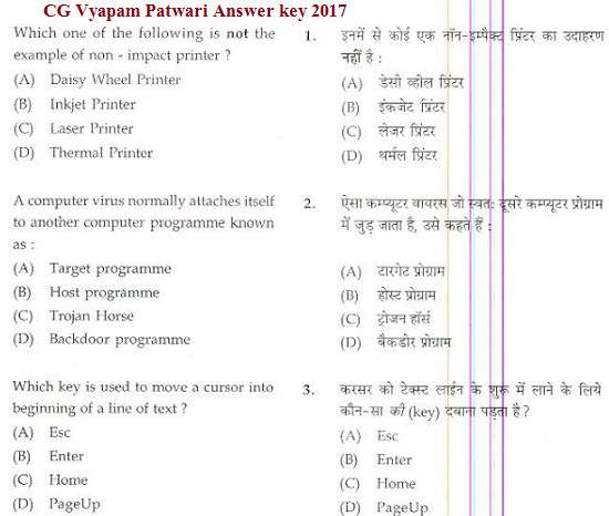 CG Vyapam Patwari Answer key 2017