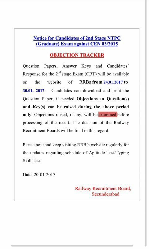 rrb ntpc mains answer key 2017