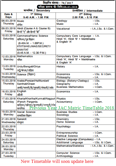 JAC Matric Time Table 2019