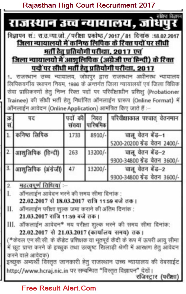 Rajasthan-High-Court-Recruitment-2017 Online Form Of Govt Job on for 12th pass, 10th pass raliway, district thatta, 12th pass uttrakhand, 10th 12th qualification, punjab pakistan,