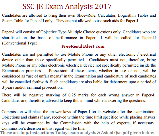 SSC JE Exam Analysis 2017