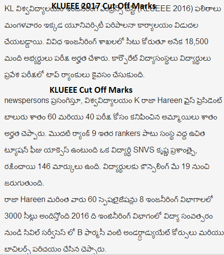 KLUEEE 2018 Cut Off Marks