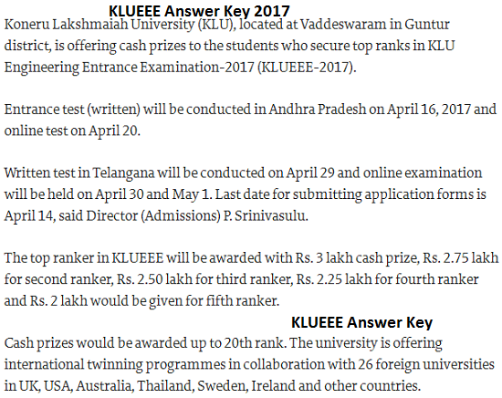 KLUEEE Answer Key 2018