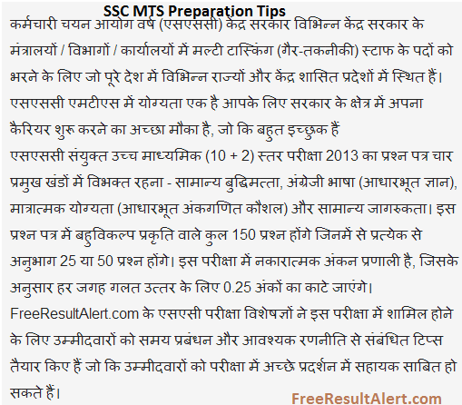 SSC MTS 2017 Preparation Tips