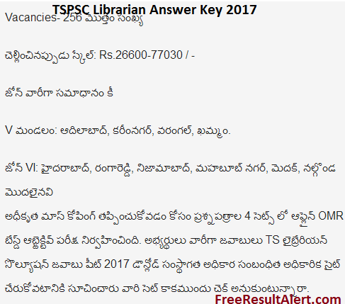 TSPSC Librarian Answer Key 2017