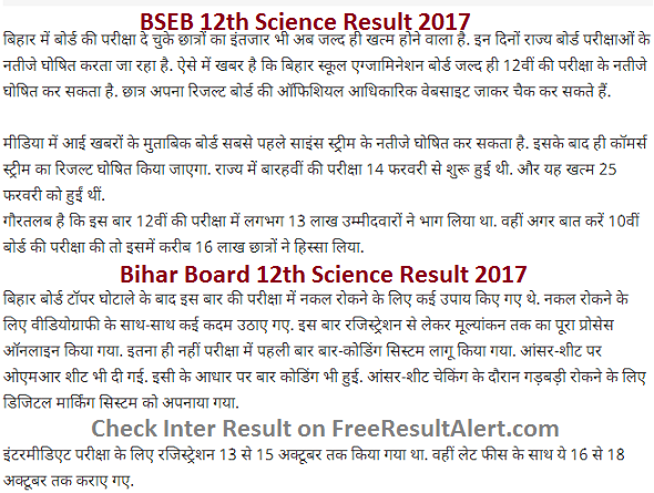 BSEB 12th Science Result 2017