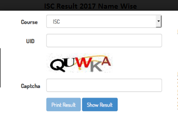 ISC Result 2017 Name Wise