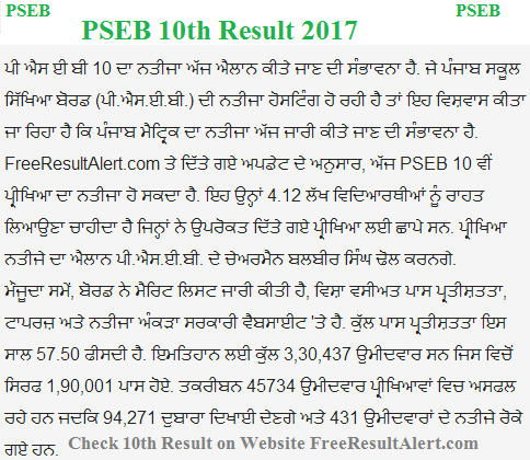Punjab Board 10th Result 2017