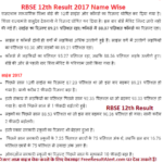 RBSE 12th Result 2017 Name Wise