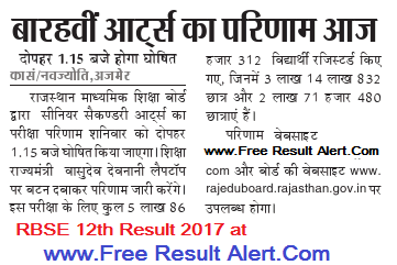 rbse 12th Arts result 2017