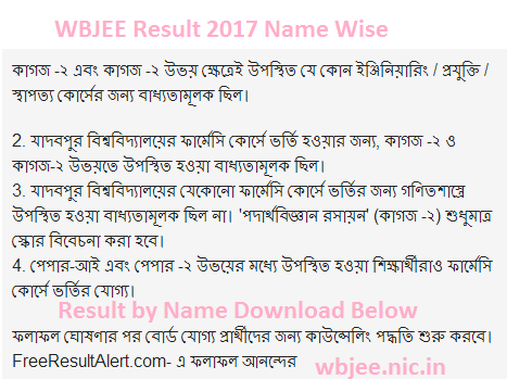 WBJEE Results 2017 Name Wise